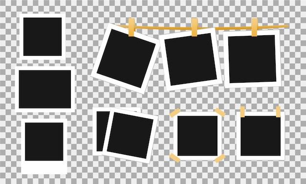 Molduras para fotos realistas retrô com clipe de papel