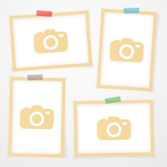 Molduras para fotos retrô com sombras.