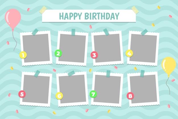 Molduras planas de colagem de aniversário