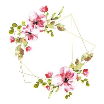 Molduras poligonais com flores cor de rosa
