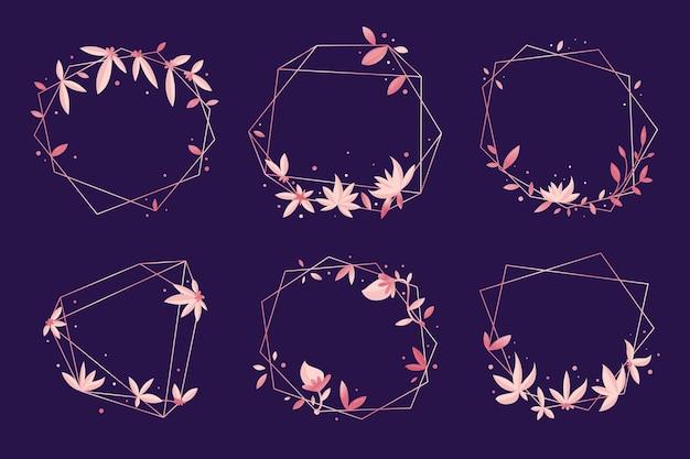 Molduras poligonais com flores elegantes