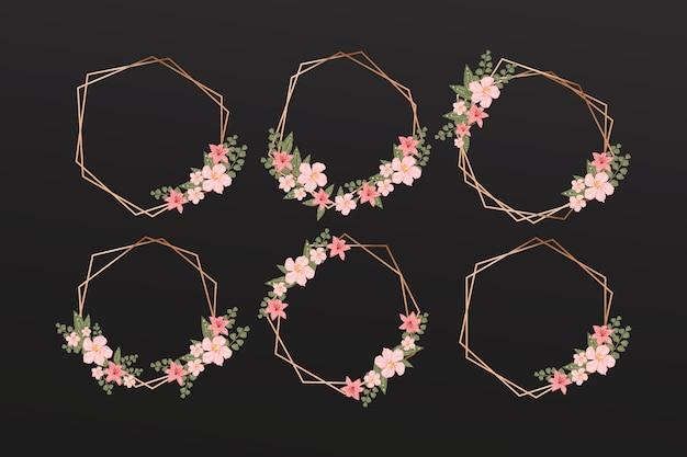 Molduras poligonais douradas com coleção de flores elegantes