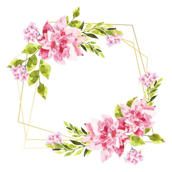 Molduras poligonais douradas com flores cor de rosa