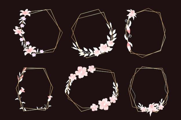 Molduras poligonais douradas com flores elegantes
