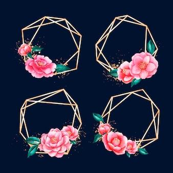 Molduras poligonais douradas com flores
