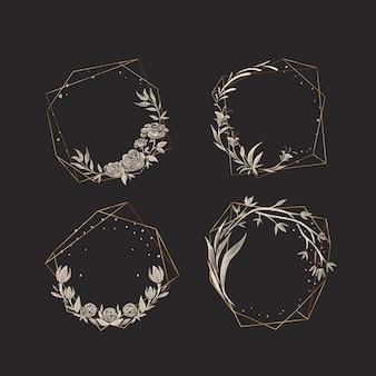 Molduras poligonais douradas com pacote de flores elegantes