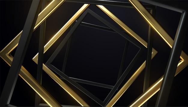 Molduras quadradas pretas e douradas. retângulos girados aleatoriamente. faixa geométrica.