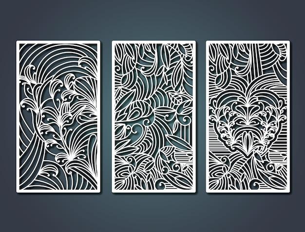 Molduras rectangulares de corte a laser com formas florais decorativas