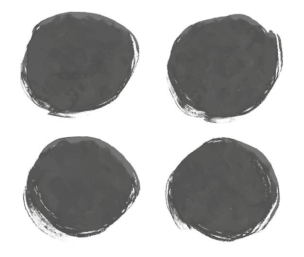 Molduras redondas em aquarela pretas abstratas