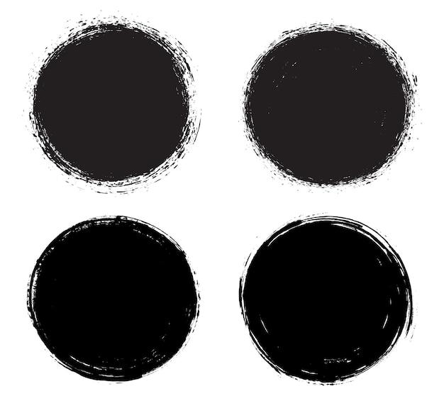 Molduras redondas sujas de grunge preto