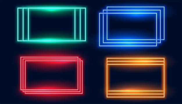 Molduras retangulares de néon definidas em quatro cores