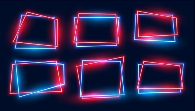 Molduras retangulares geométricas de néon definidas nas cores vermelha e azul