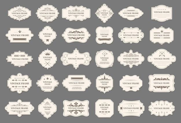Molduras retrô rótulos decorativos vintage com ornamento floral etiquetas de luxo elegantes com conjunto de vetor de texto