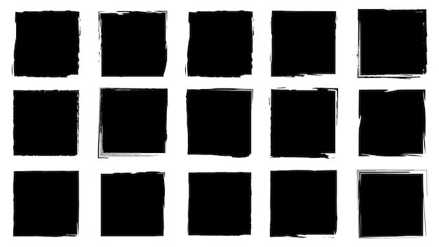 Molduras sujas para design em estilo grunge. traçados de pincel de tinta. um conjunto de texturas de distress de forma quadrada ou retangular. planos de fundo isolados para design de molduras de texto, cartazes, banners. preto branco.