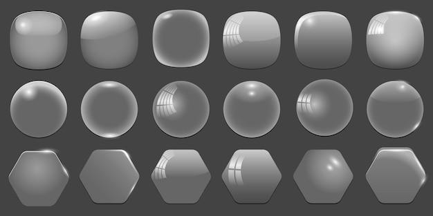 Molduras vazias transparentes de vidro, formas diferentes.