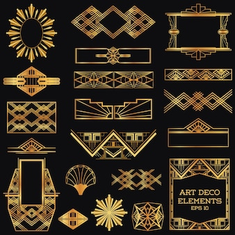 Molduras vintage art déco e elementos de design