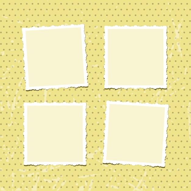 Molduras vintage colocadas em álbum de fotos retrô amarelo