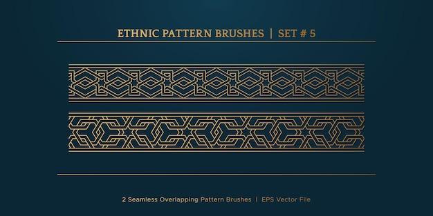 Molduras vintage com bordas geométricas douradas, coleção de molduras com bordas étnicas tradicionais