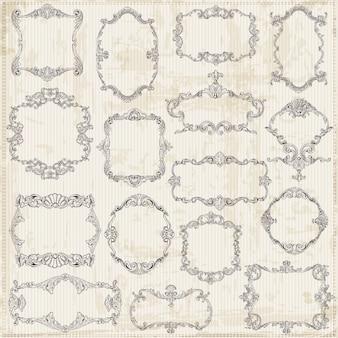 Molduras vintage e elementos de design caligráfico