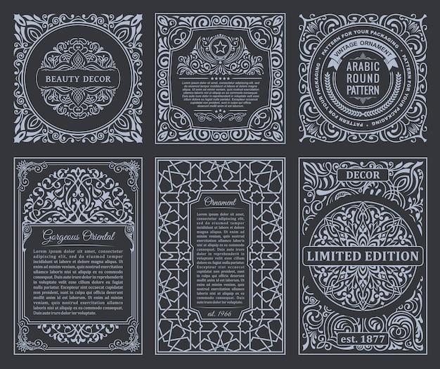 Molduras vintage e etiquetas pretas