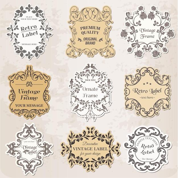 Molduras vintage, elementos de design caligráfico e decoração de página