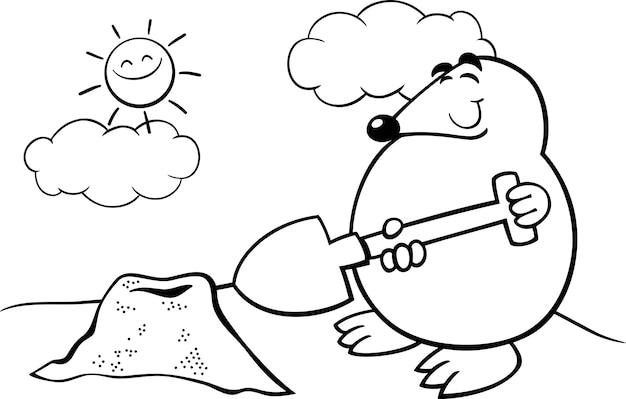 Mole cartoon illustration coloring page