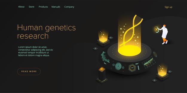 Molécula de dna ou tecnologia de pesquisa de genes. inovações médicas ou formação científica em biotecnologia. Vetor Premium