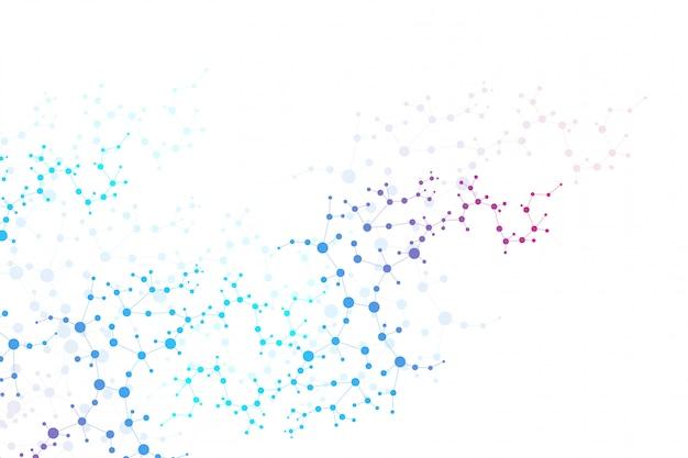 Molécula de estrutura e comunicação. dna, átomo, neurônios. conceito científico. linhas conectadas com pontos. medicina, tecnologia, química, fundo de ciência.