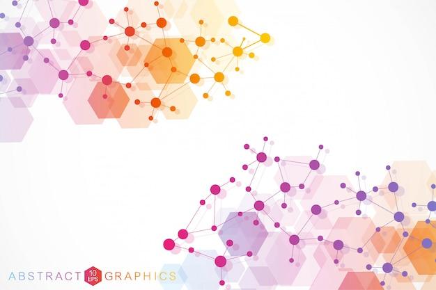 Molécula de estrutura e comunicação. dna, átomo, neurônios. conceito científico para seu projeto. linhas conectadas com pontos. medicina, tecnologia, química, formação científica. ilustração.