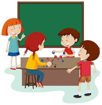 Molécula de estudo do aluno na sala de aula