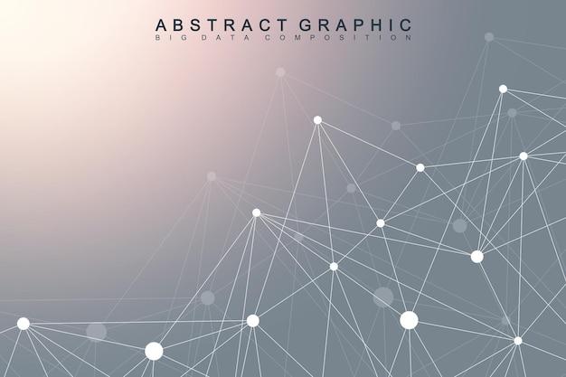 Molécula de fundo gráfico geométrico e comunicação. complexo de big data com compostos. cenário de perspectiva. matriz mínima. visualização de dados digitais. ilustração científica do vetor cibernético.