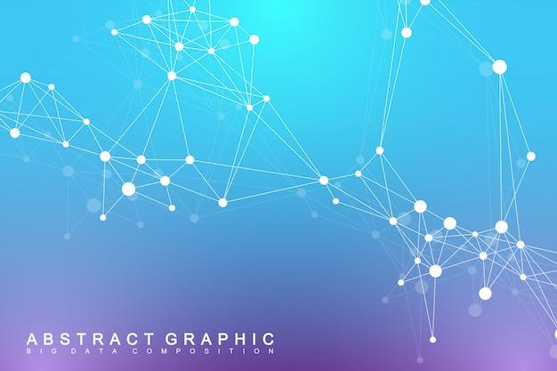 Molécula de fundo gráfico geométrico e comunicação. complexo de big data com compostos. visualização de dados digitais. ilustração cibernética científica.