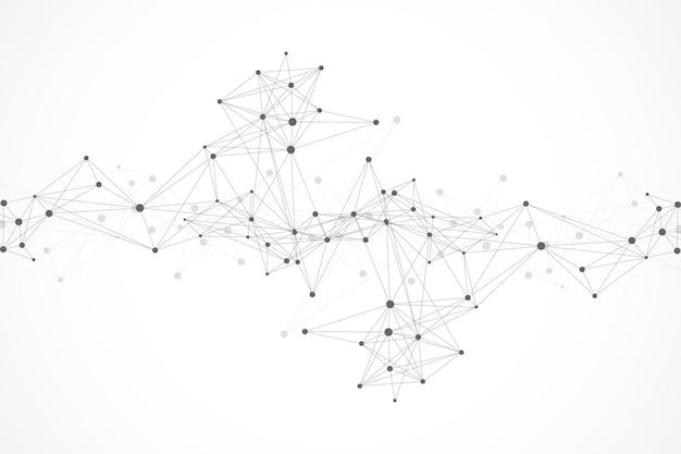 Molécula de fundo gráfico geométrico e comunicação. linhas conectadas com pontos. fundo caótico da ilustração do minimalismo. conceito de ciência, química, biologia, medicina, tecnologia, vetor