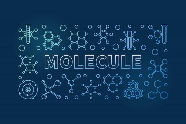 Molécula vector fundo horizontal linear azul