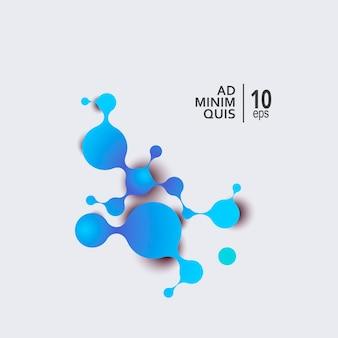 Moléculas abstratas com círculos conectados com espaço para seu texto.
