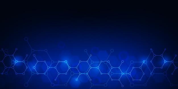Moléculas abstratas em fundo azul escuro.