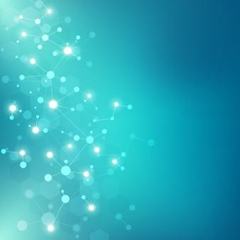 Moléculas abstratas sobre fundo verde. estruturas moleculares ou fita de dna, rede neural, engenharia genética. conceito científico e tecnológico.
