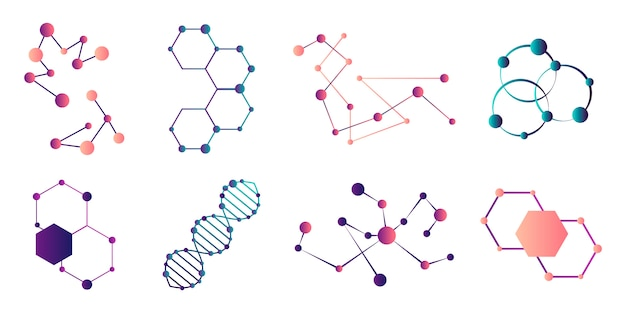 Moléculas conectadas. modelo de conexão de molécula