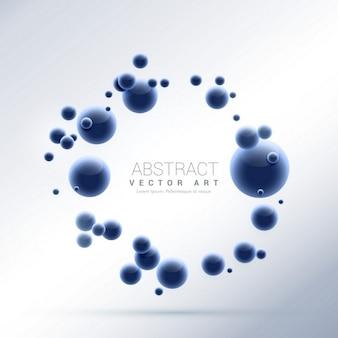 Moléculas fundo abstrato azul partículas