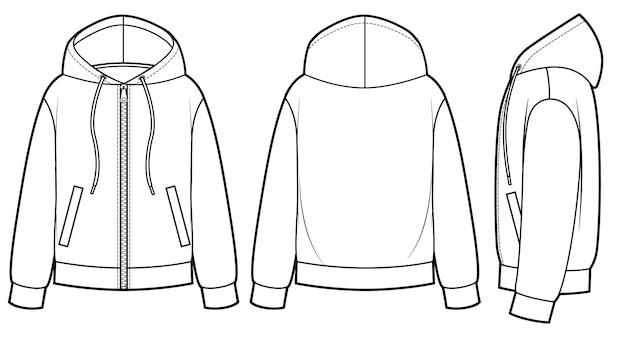 Moletons em branco para homens e mulheres nas vistas frontal, traseira e lateral. fecho de zíper na frente