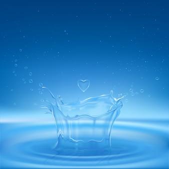 Molhe o respingo na forma da coroa com gotas do pulverizador, gota do coração e círculos de dispersão na superfície líquida.