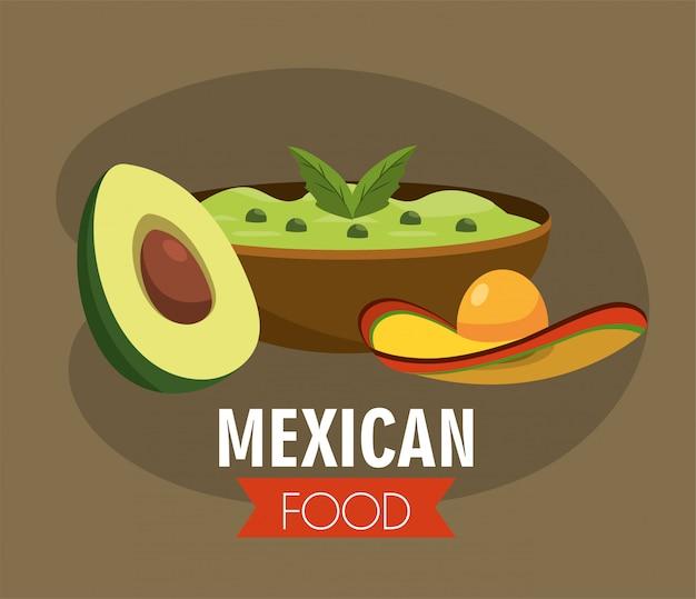 Molho de abacate mexicano com chapéu tradicional