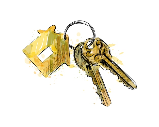 Molho de chaves com bugiganga em forma de casa de um toque de aquarela, esboço desenhado de mão