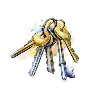 Molho de chaves de um toque de aquarela, esboço desenhado à mão. ilustração vetorial de tintas