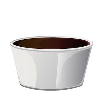 Molho de sushi asiático de soja na tigela. elementos realistas para ícone e design de alimentos