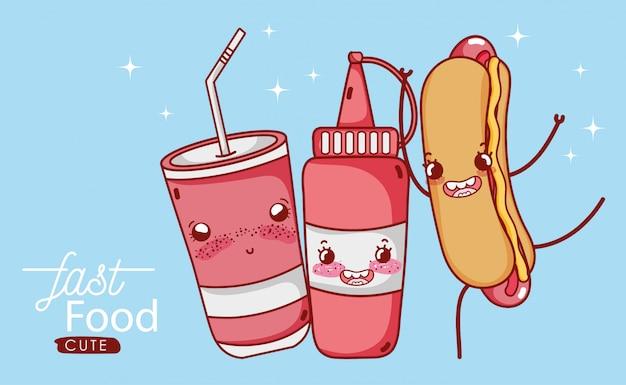 Molho de tomate de cachorro-quente bonito de fast-food e ilustração dos desenhos animados de refrigerante de copo plástico