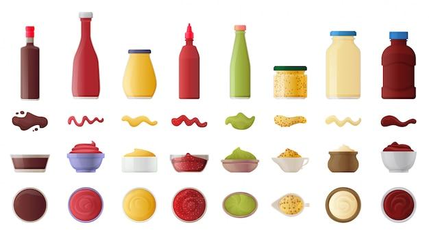Molho para conjunto de ícones realista de churrasco