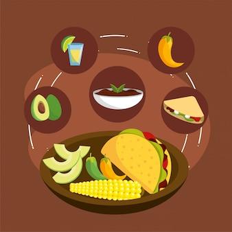Molho picante com comida mexicana tacos