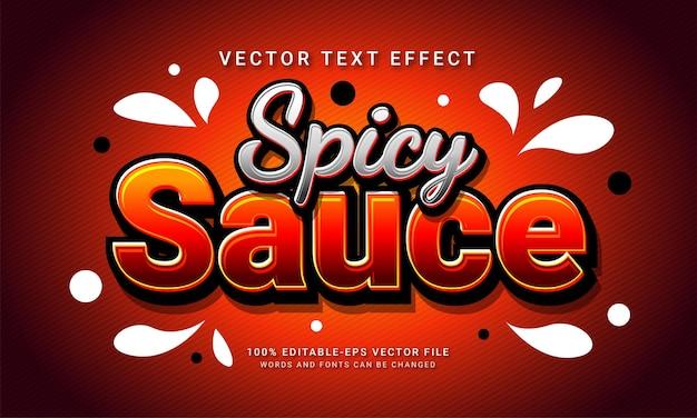 Molho picante, estilo de texto editável, efeito de menu de comida de restaurante com tema