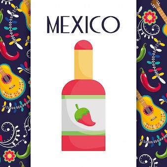 Molho picante pimenta guitarra flores comida mexicana, cartão de vector design tradicional celebração